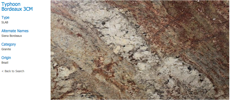 Granite Countertops, Kitchen Island, Bathroom Vanity typhoon-bordeaux Granite Colors
